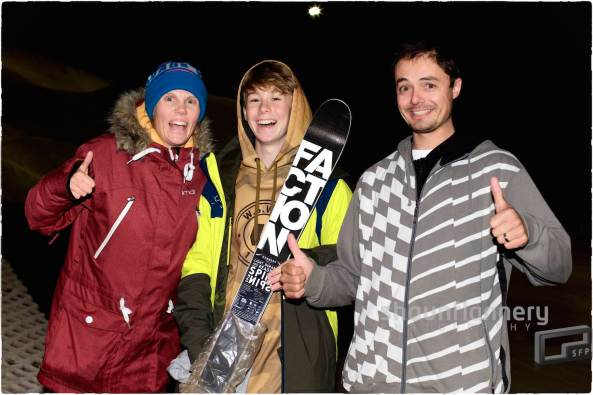 Pix: Shaun Flannery/shaunflanneryphotography.com COPYRIGHT PICTURE>>SHAUN FLANNERY>01302-570814>>07778315553>> 12th September 2015 British Freeski Camp Camper of the year 2014/15 Mason Flannery pictured with coaches Becky and Any Bennett